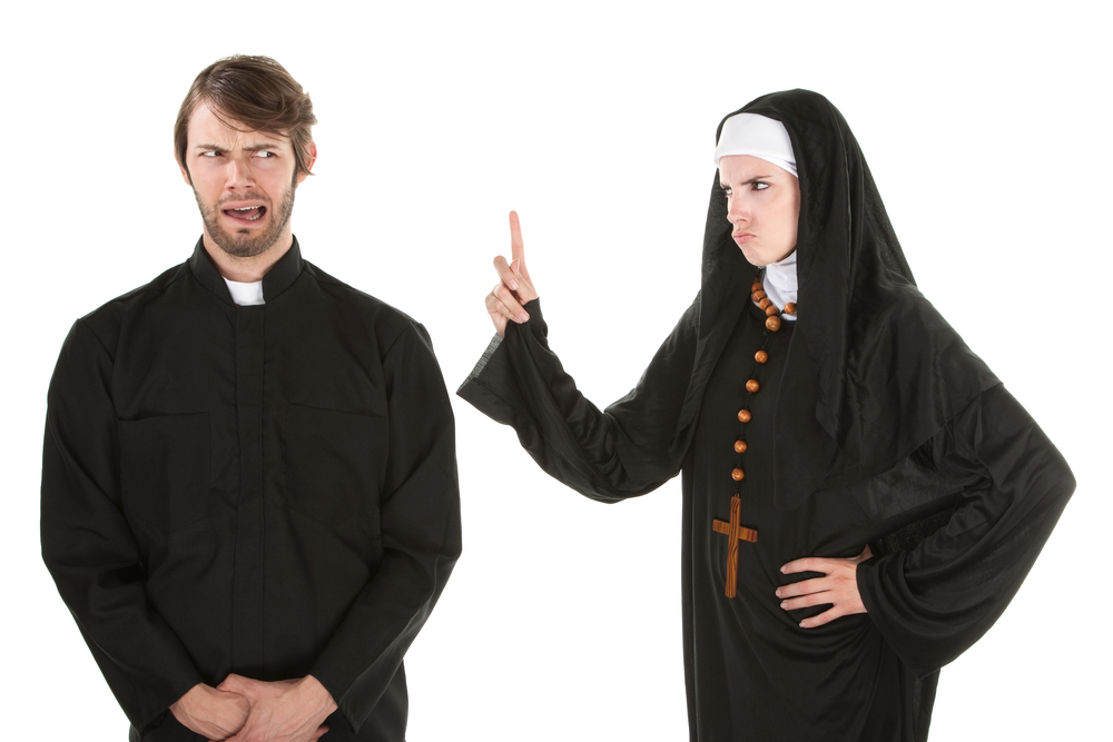 Nun admonishing Male Clergy