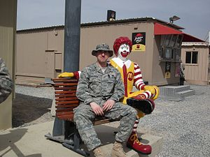 English: Ronald McDonald at a base in Southwes...