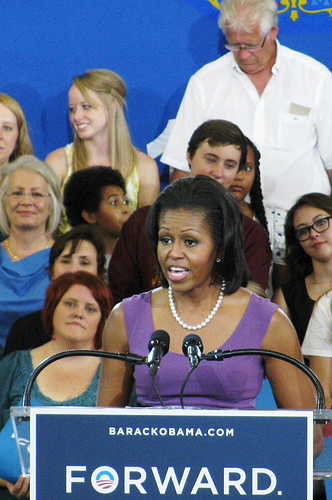 Michelle Obama addresses crowd.